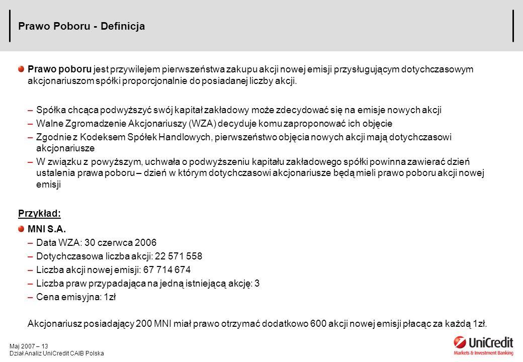 Maj 2007 – 13 Dział Analiz UniCredit CAIB Polska Prawo Poboru - Definicja Prawo poboru jest przywilejem pierwszeństwa zakupu akcji nowej emisji przysł