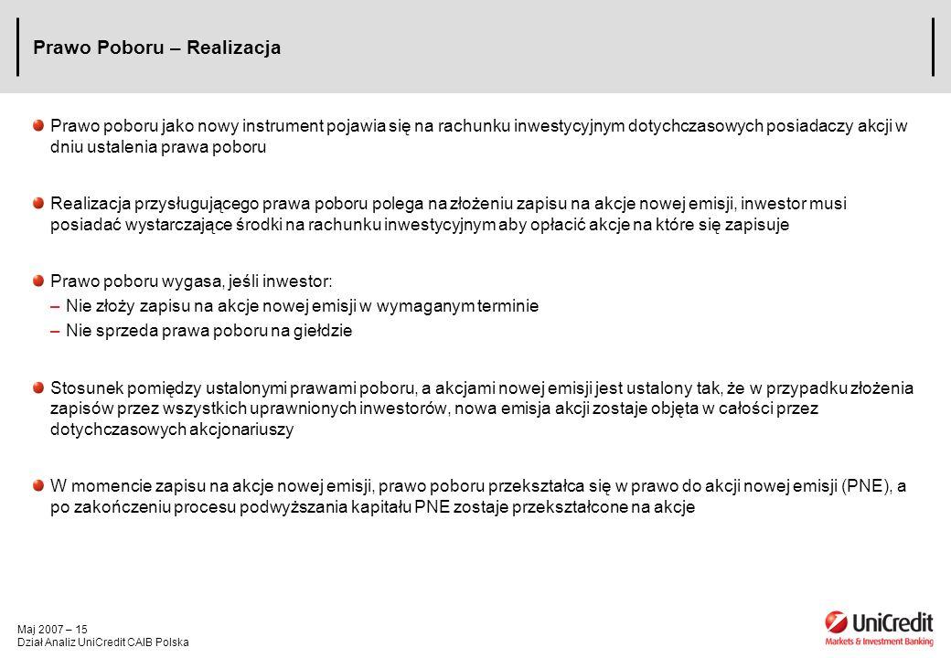 Maj 2007 – 15 Dział Analiz UniCredit CAIB Polska Prawo Poboru – Realizacja Prawo poboru jako nowy instrument pojawia się na rachunku inwestycyjnym dot