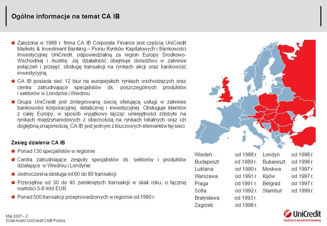Maj 2007 – 2 Dział Analiz UniCredit CAIB Polska Ogólne informacje na temat CA IB Założona w 1988 r. firma CA IB Corporate Finance jest częścią UniCred