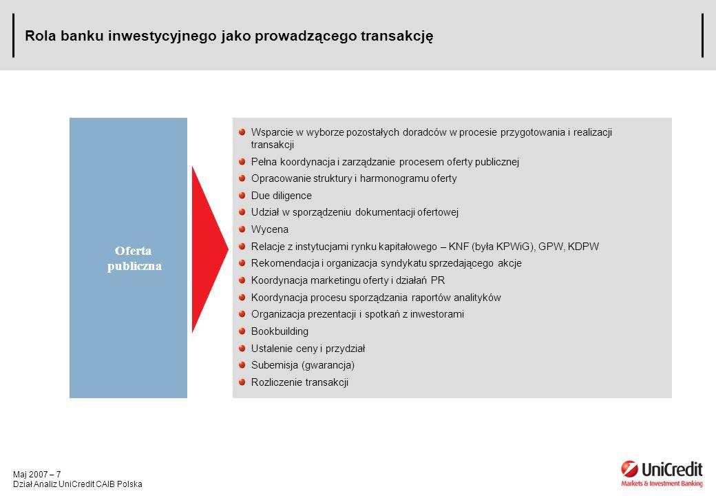 Maj 2007 – 7 Dział Analiz UniCredit CAIB Polska Rola banku inwestycyjnego jako prowadzącego transakcję Wsparcie w wyborze pozostałych doradców w proce