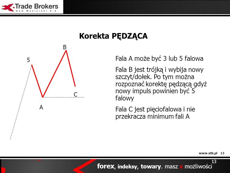 www.xtb.pl 13 forex, indeksy, towary. masz x możliwości 13 Korekta PĘDZĄCA 5 A B C Fala A może być 3 lub 5 falowa Fala B jest trójką i wybija nowy szc