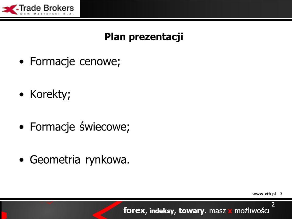 www.xtb.pl 2 forex, indeksy, towary. masz x możliwości Plan prezentacji Formacje cenowe; Korekty; Formacje świecowe; Geometria rynkowa. 2