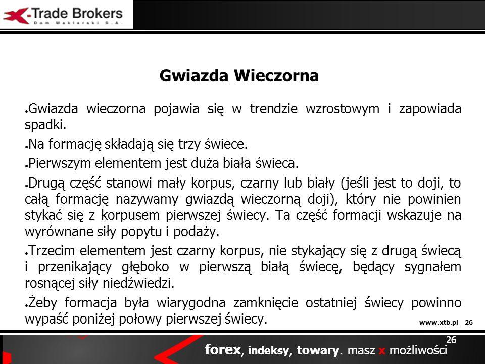 www.xtb.pl 26 forex, indeksy, towary. masz x możliwości 26 Gwiazda Wieczorna Gwiazda wieczorna pojawia się w trendzie wzrostowym i zapowiada spadki. N