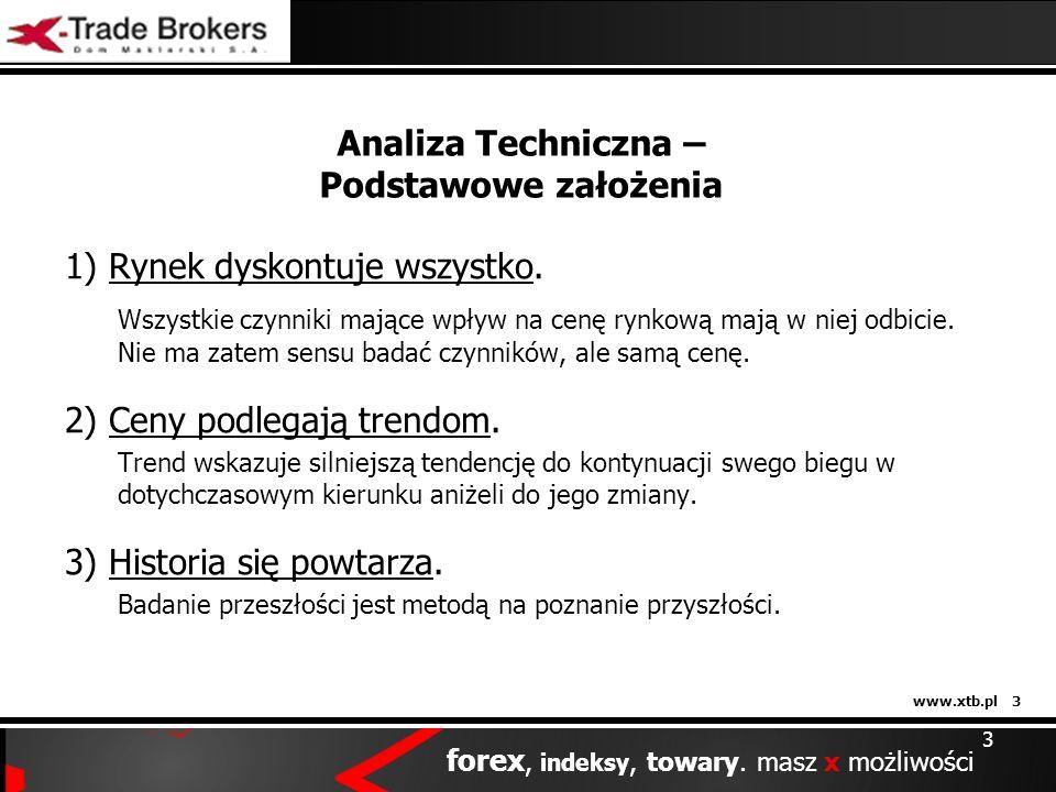 www.xtb.pl 3 forex, indeksy, towary. masz x możliwości 3 Analiza Techniczna – Podstawowe założenia 1) Rynek dyskontuje wszystko. Wszystkie czynniki ma