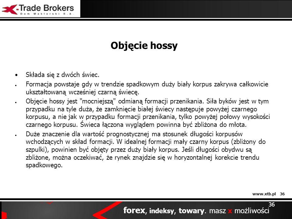 www.xtb.pl 36 forex, indeksy, towary. masz x możliwości 36 Objęcie hossy Składa się z dwóch świec. Formacja powstaje gdy w trendzie spadkowym duży bia