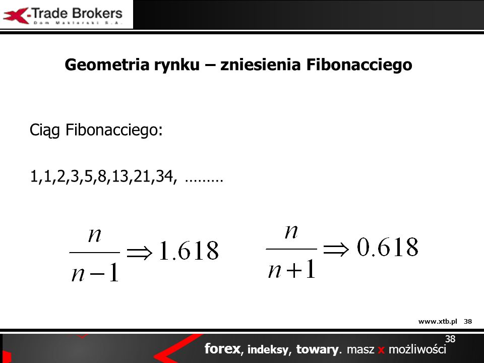 www.xtb.pl 38 forex, indeksy, towary. masz x możliwości Geometria rynku – zniesienia Fibonacciego Ciąg Fibonacciego: 1,1,2,3,5,8,13,21,34, ……… 38