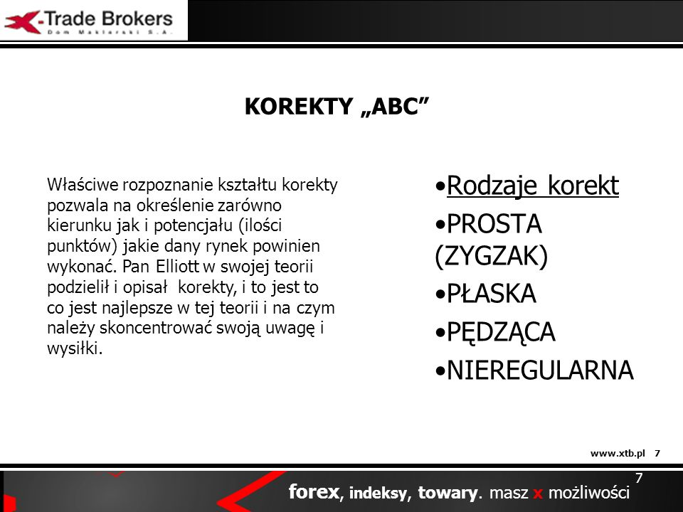 www.xtb.pl 7 forex, indeksy, towary. masz x możliwości 7 KOREKTY ABC Rodzaje korekt PROSTA (ZYGZAK) PŁASKA PĘDZĄCA NIEREGULARNA Właściwe rozpoznanie k