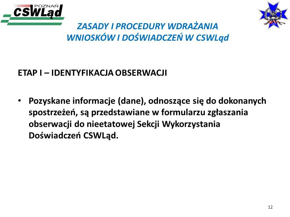 ETAP I – IDENTYFIKACJA OBSERWACJI Pozyskane informacje (dane), odnoszące się do dokonanych spostrzeżeń, są przedstawiane w formularzu zgłaszania obser