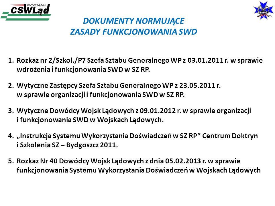 DOKUMENTY NORMUJĄCE ZASADY FUNKCJONOWANIA SWD 1.Rozkaz nr 2/Szkol./P7 Szefa Sztabu Generalnego WP z 03.01.2011 r. w sprawie wdrożenia i funkcjonowania