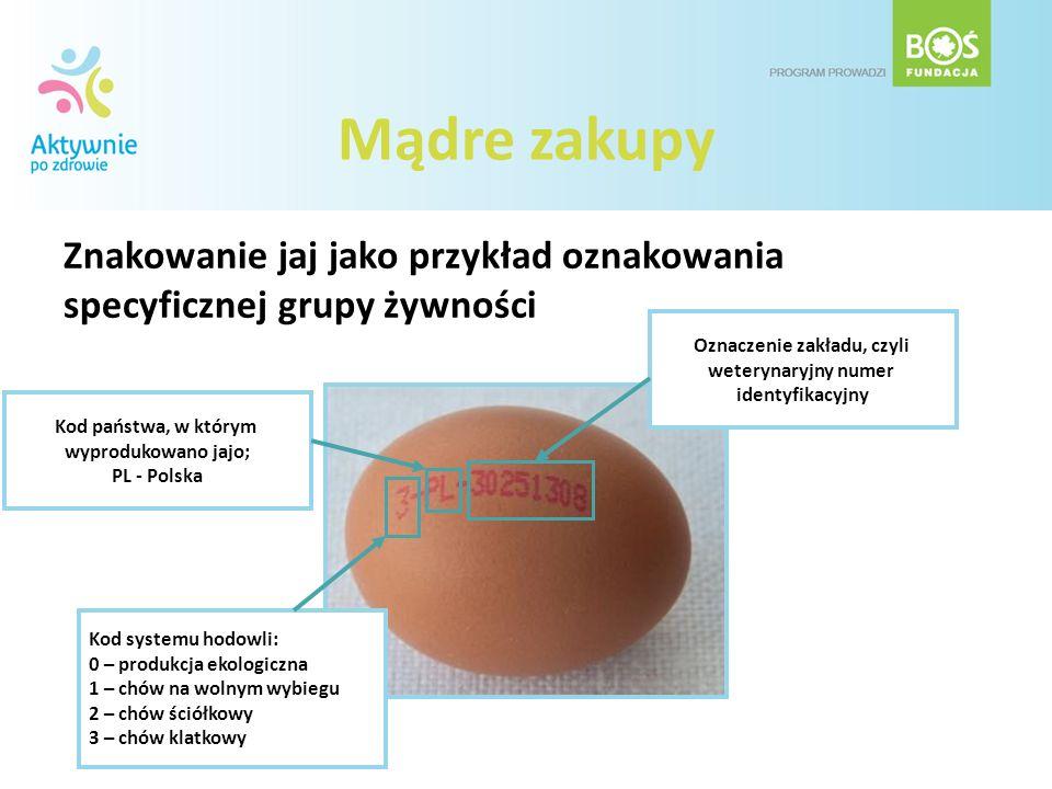 Znakowanie jaj jako przykład oznakowania specyficznej grupy żywności Kod państwa, w którym wyprodukowano jajo; PL - Polska Kod systemu hodowli: 0 – pr