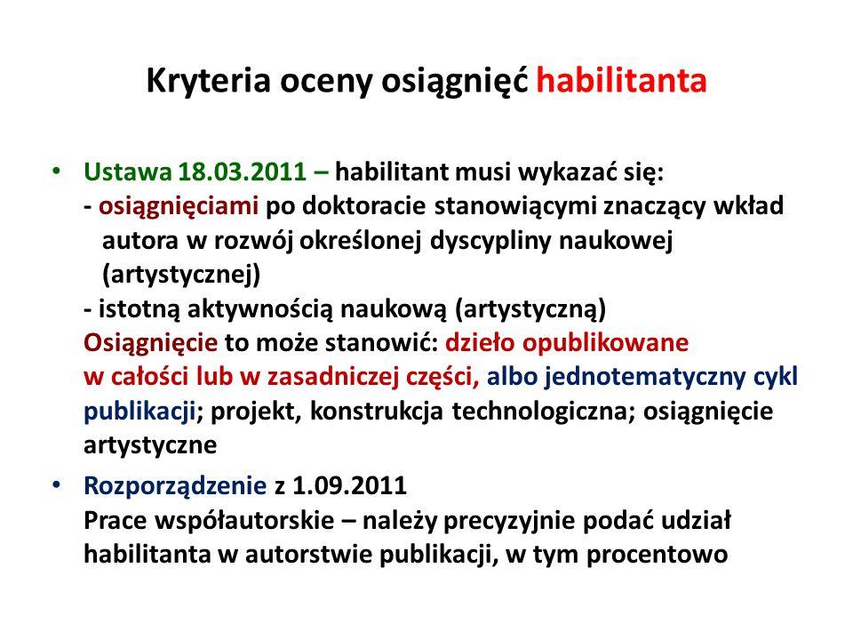 Kryteria oceny osiągnięć habilitanta Ustawa 18.03.2011 – habilitant musi wykazać się: - osiągnięciami po doktoracie stanowiącymi znaczący wkład autora