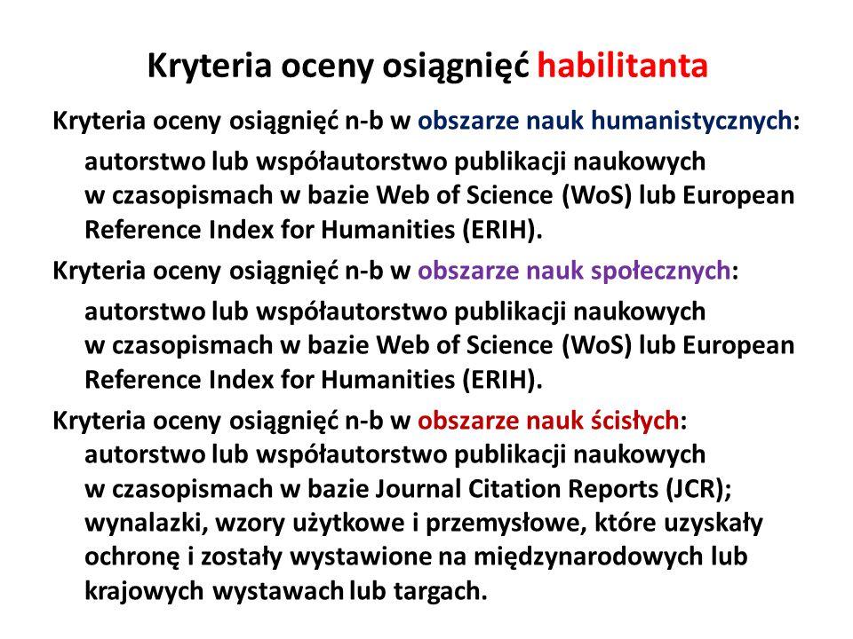Kryteria oceny osiągnięć habilitanta Kryteria oceny osiągnięć n-b w obszarze nauk humanistycznych: autorstwo lub współautorstwo publikacji naukowych w