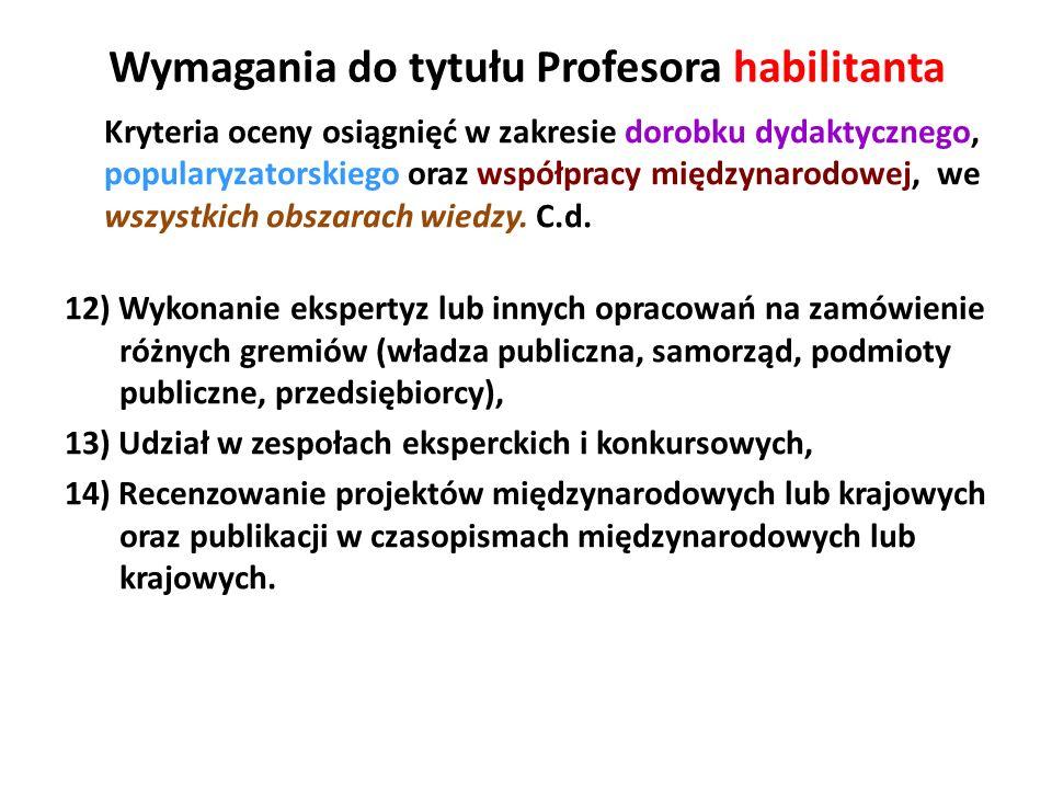 Wymagania do tytułu Profesora habilitanta Kryteria oceny osiągnięć w zakresie dorobku dydaktycznego, popularyzatorskiego oraz współpracy międzynarodow