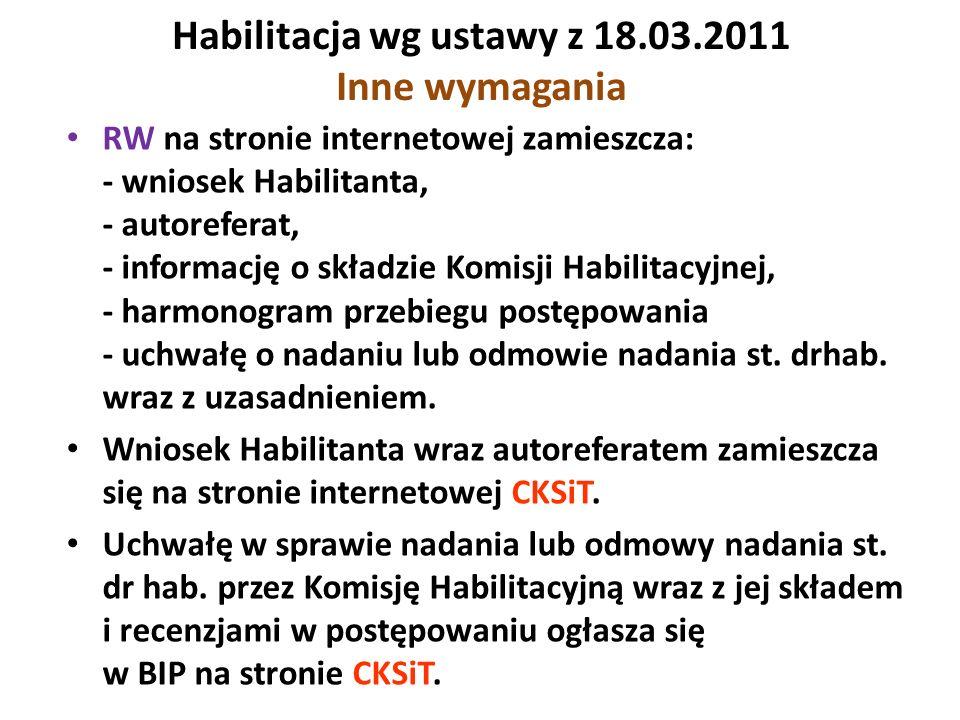 Habilitacja wg ustawy z 18.03.2011 Inne wymagania RW na stronie internetowej zamieszcza: - wniosek Habilitanta, - autoreferat, - informację o składzie