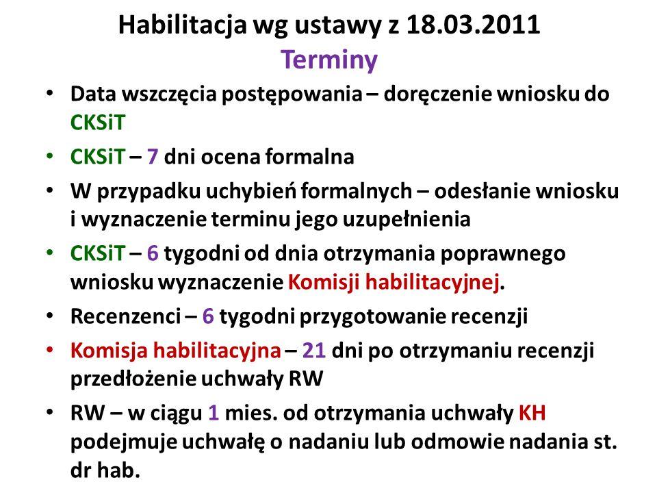 Habilitacja wg ustawy z 18.03.2011 Terminy Data wszczęcia postępowania – doręczenie wniosku do CKSiT CKSiT – 7 dni ocena formalna W przypadku uchybień