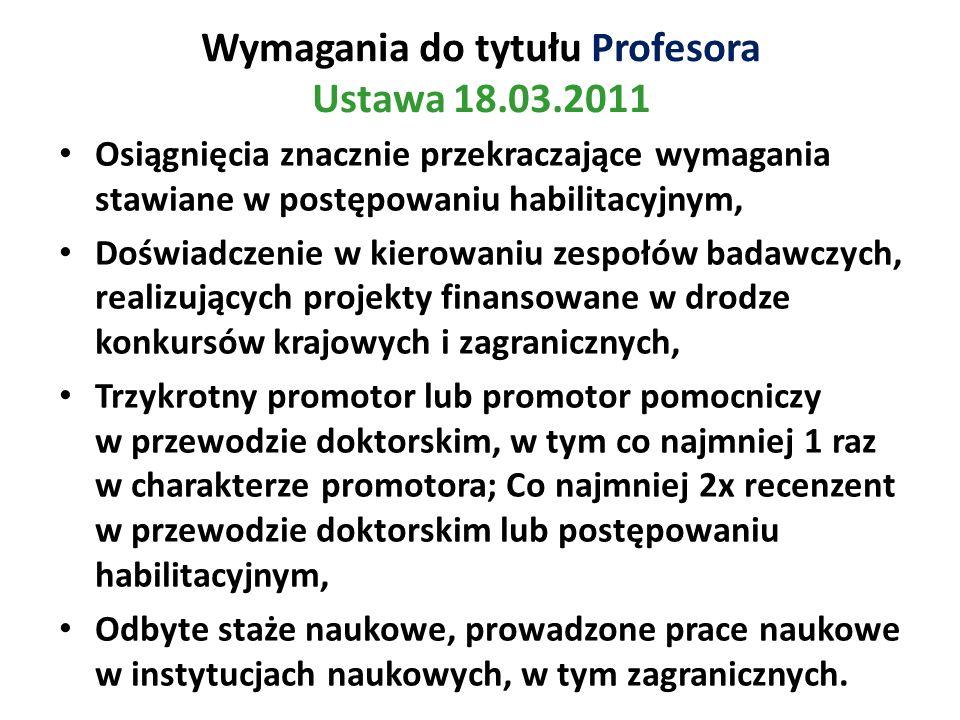 Wymagania do tytułu Profesora Ustawa 18.03.2011 Osiągnięcia znacznie przekraczające wymagania stawiane w postępowaniu habilitacyjnym, Doświadczenie w