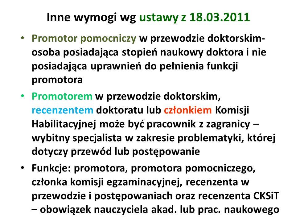Inne wymogi wg ustawy z 18.03.2011 Promotor pomocniczy w przewodzie doktorskim- osoba posiadająca stopień naukowy doktora i nie posiadająca uprawnień
