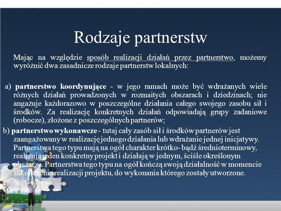 Rodzaje partnerstw Mając na względzie sposób realizacji działań przez partnerstwo, możemy wyróżnić dwa zasadnicze rodzaje partnerstw lokalnych: a) par