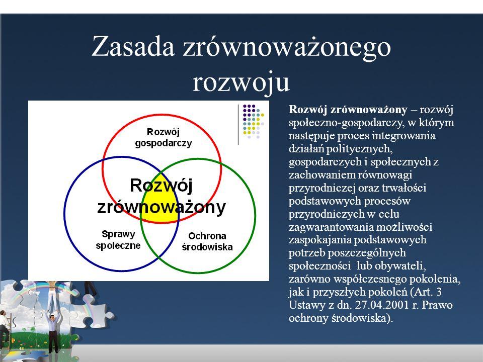 Zasada zrównoważonego rozwoju Rozwój zrównoważony – rozwój społeczno-gospodarczy, w którym następuje proces integrowania działań politycznych, gospoda