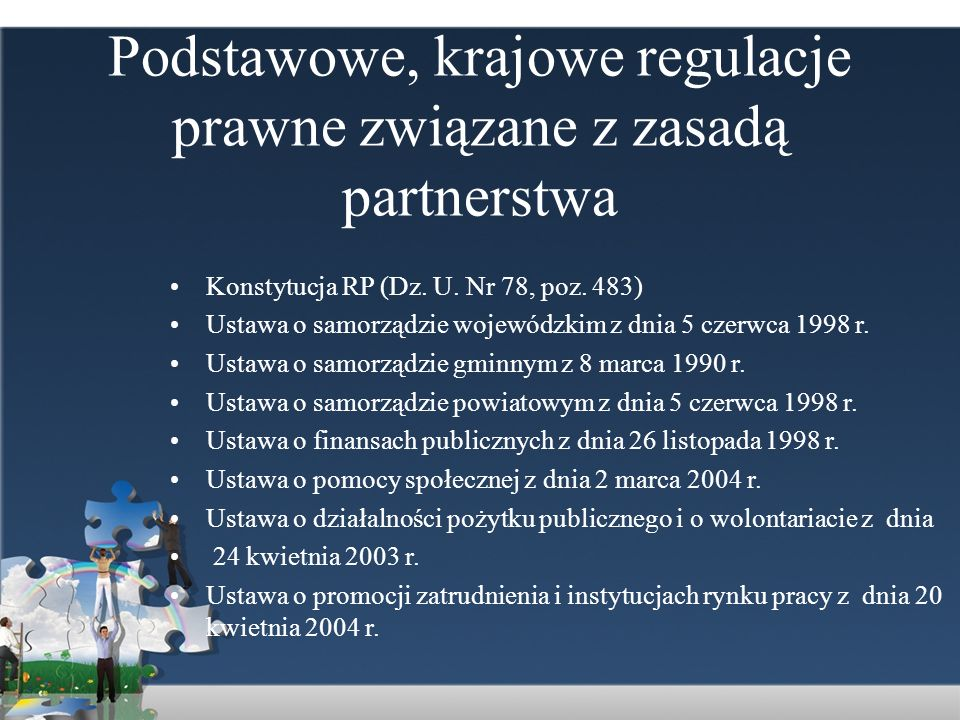 Podstawowe, krajowe regulacje prawne związane z zasadą partnerstwa Konstytucja RP (Dz. U. Nr 78, poz. 483) Ustawa o samorządzie wojewódzkim z dnia 5 c