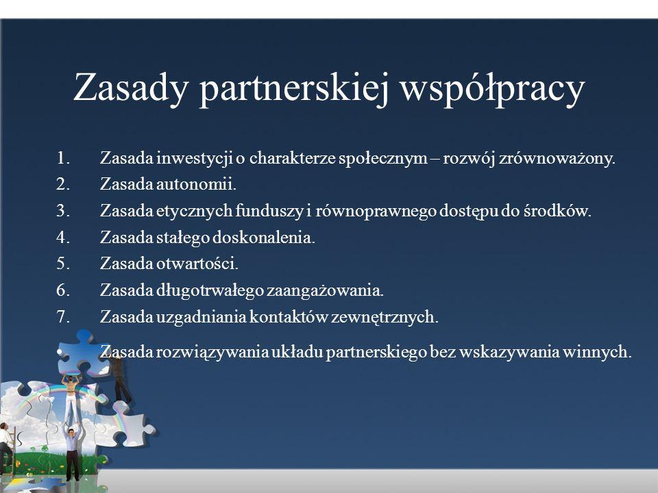 Zasady partnerskiej współpracy 1.Zasada inwestycji o charakterze społecznym – rozwój zrównoważony. 2.Zasada autonomii. 3.Zasada etycznych funduszy i r