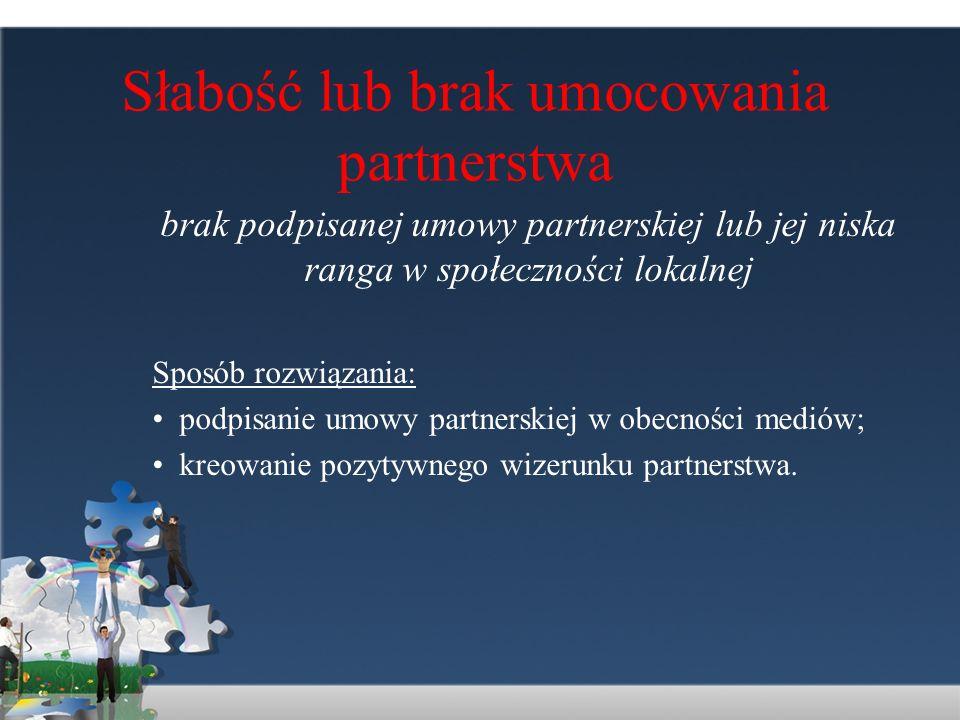 Słabość lub brak umocowania partnerstwa brak podpisanej umowy partnerskiej lub jej niska ranga w społeczności lokalnej Sposób rozwiązania: podpisanie