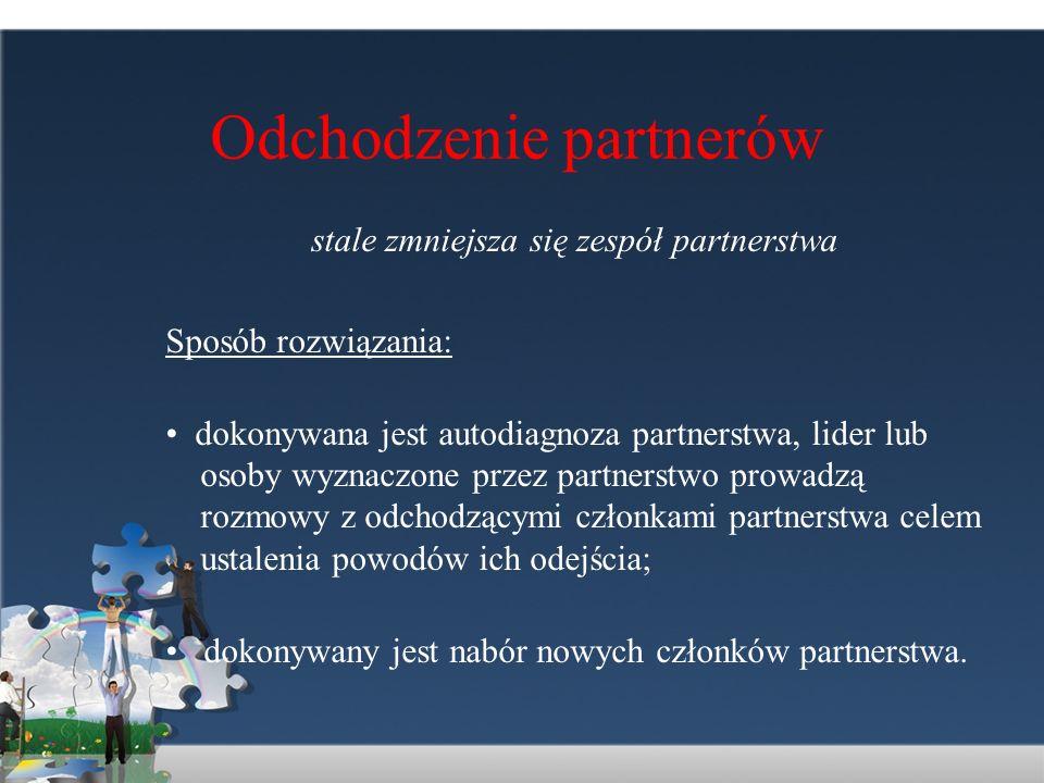 Odchodzenie partnerów stale zmniejsza się zespół partnerstwa Sposób rozwiązania: dokonywana jest autodiagnoza partnerstwa, lider lub osoby wyznaczone