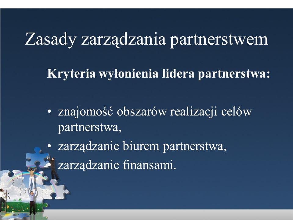 Zasady zarządzania partnerstwem Kryteria wyłonienia lidera partnerstwa: znajomość obszarów realizacji celów partnerstwa, zarządzanie biurem partnerstw