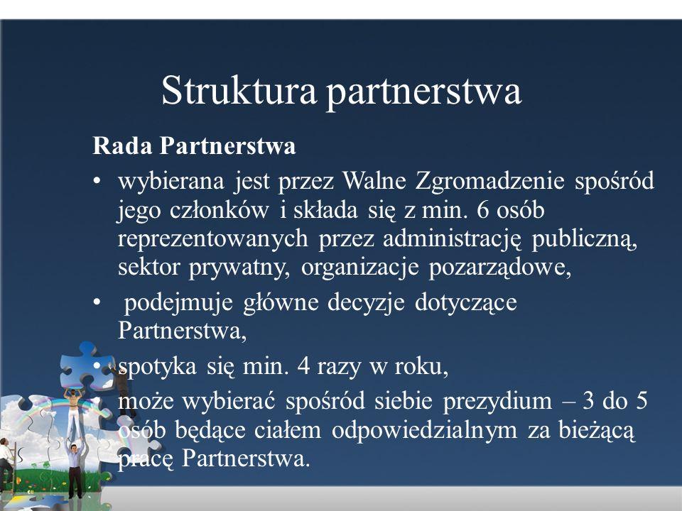Struktura partnerstwa Rada Partnerstwa wybierana jest przez Walne Zgromadzenie spośród jego członków i składa się z min. 6 osób reprezentowanych przez