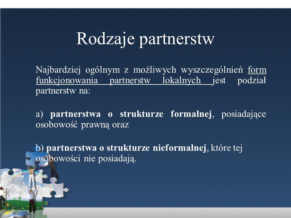 Rodzaje partnerstw Mając na względzie sposób realizacji działań przez partnerstwo, możemy wyróżnić dwa zasadnicze rodzaje partnerstw lokalnych: a) partnerstwo koordynujące - w jego ramach może być wdrażanych wiele różnych działań prowadzonych w rozmaitych obszarach i dziedzinach; nie angażuje każdorazowo w poszczególne działania całego swojego zasobu sił i środków.