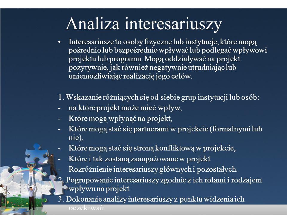 Analiza interesariuszy Interesariusze to osoby fizyczne lub instytucje, które mogą pośrednio lub bezpośrednio wpływać lub podlegać wpływowi projektu l