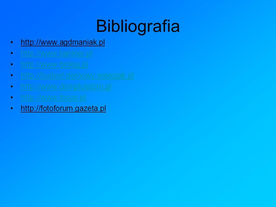 Bibliografia http://www.agdmaniak.pl http://www.bankier.pl http://www.biolog.pl http://budzet-domowy.wieszjak.pl http://www.domplusdom.pl http://www.f