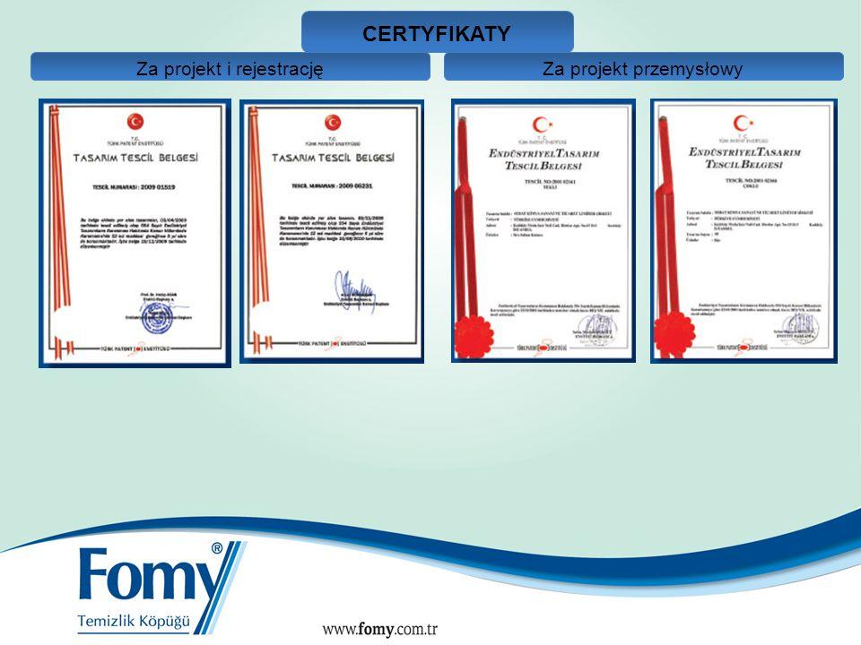 CERTYFIKATY Za projekt i rejestracjęZa projekt przemysłowy