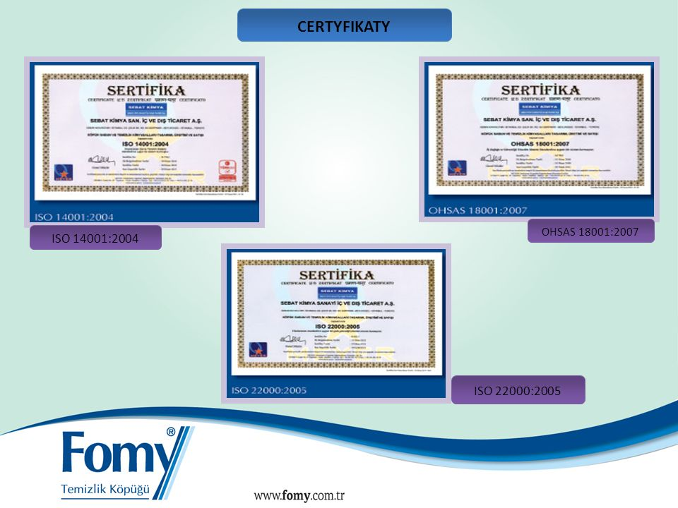 CERTYFIKATY SANAYİ SİCİL BELGESİ BELGE No: 590389.00 ISO 14001:2004 OHSAS 18001:2007 ISO 22000:2005