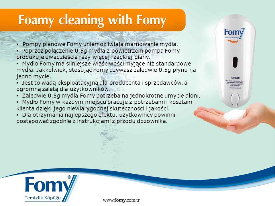 Pompy pianowe Fomy uniemożliwiają marnowanie mydła. Poprzez połączenie 0.5g mydła z powietrzem pompa Fomy produkuje dwadzieścia razy więcej rzadkiej p