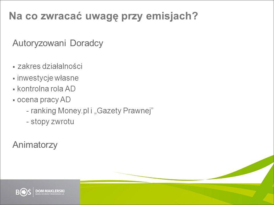 Na co zwracać uwagę przy emisjach? Autoryzowani Doradcy zakres działalności inwestycje własne kontrolna rola AD ocena pracy AD - ranking Money.pl i Ga