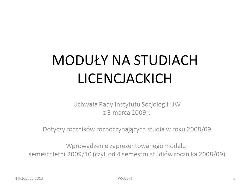 Moduły tematyczne na studiach licencjackich Konieczność ograniczenia liczby modułów: – względy organizacyjne – konieczność zapewnienia odpowiedniej liczby zajęć – względy merytoryczne – potrzeba ukierunkowania studentów, dostarczenia generalnej wiedzy na poziomie podstawowym – licencjatu (wytyczne ministerialne) Uchwalone przez Radę moduły: 1.Sprawy publiczne, problemy społeczne, lokalność, NGO (koordynator: Paweł Poławski) 2.Zróżnicowanie kulturowe współczesnego świata (koordynator: Aleksandra Grzymała-Kazłowska) 3.Polityka i demokracja (koordynator: Przemysław Sadura) 4.Marketing, media, komunikacja (koordynator: Sławomir Mandes) 124 listopada 2013Wersja na marcową Radę Instytutu