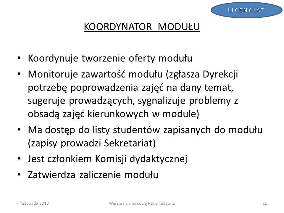 KOORDYNATOR MODUŁU Koordynuje tworzenie oferty modułu Monitoruje zawartość modułu (zgłasza Dyrekcji potrzebę poprowadzenia zajęć na dany temat, sugeru