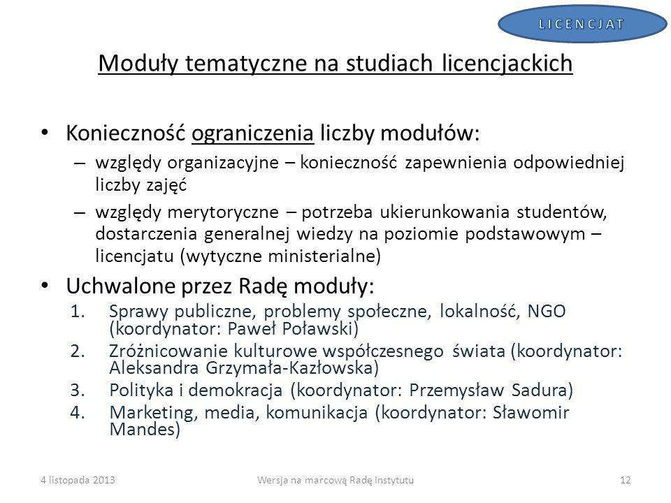 Moduły tematyczne na studiach licencjackich Konieczność ograniczenia liczby modułów: – względy organizacyjne – konieczność zapewnienia odpowiedniej li