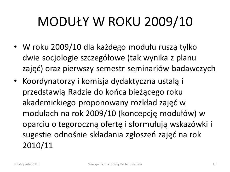 MODUŁY W ROKU 2009/10 W roku 2009/10 dla każdego modułu ruszą tylko dwie socjologie szczegółowe (tak wynika z planu zajęć) oraz pierwszy semestr semin