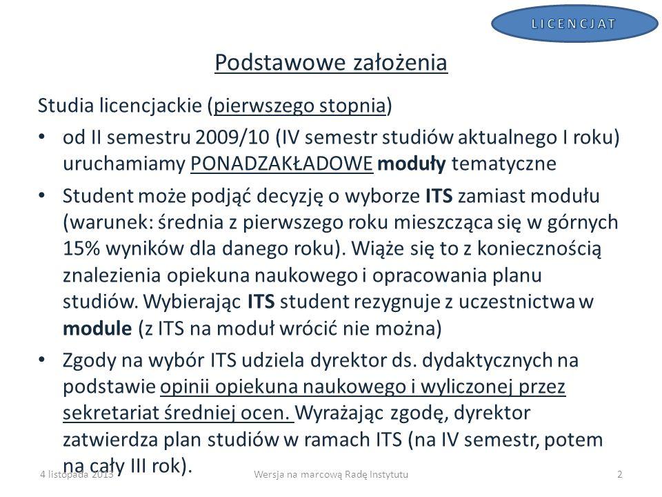 MODUŁY W ROKU 2009/10 W roku 2009/10 dla każdego modułu ruszą tylko dwie socjologie szczegółowe (tak wynika z planu zajęć) oraz pierwszy semestr seminariów badawczych Koordynatorzy i komisja dydaktyczna ustalą i przedstawią Radzie do końca bieżącego roku akademickiego proponowany rozkład zajęć w modułach na rok 2009/10 (koncepcję modułów) w oparciu o tegoroczną ofertę i sformułują wskazówki i sugestie odnośnie składania zgłoszeń zajęć na rok 2010/11 4 listopada 2013Wersja na marcową Radę Instytutu13