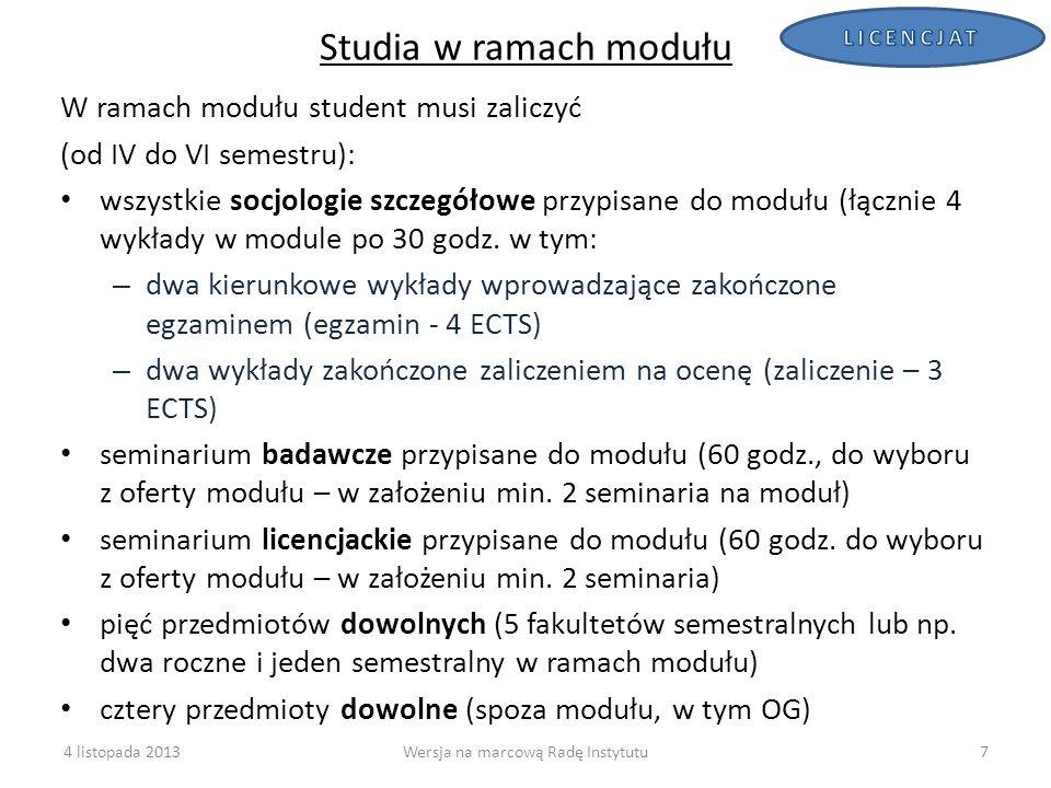 8 Struktura modułu* Rodzaj zajęć Obowiązek zaliczenia przez studenta: Liczba oferowanych zajęć danego rodzaju (min.) w module Kierunkowe (obowiązkowe) w module:6 8 w tym: Socjologie szczegółowe (wykłady 30 godzin)44 Seminarium badawcze12 Seminarium licencjackie12 Dowolne w module510 Łącznie zajęć w jednym module 1118 Łącznie zajęć w 4 modułach72 Obecnie (sem.
