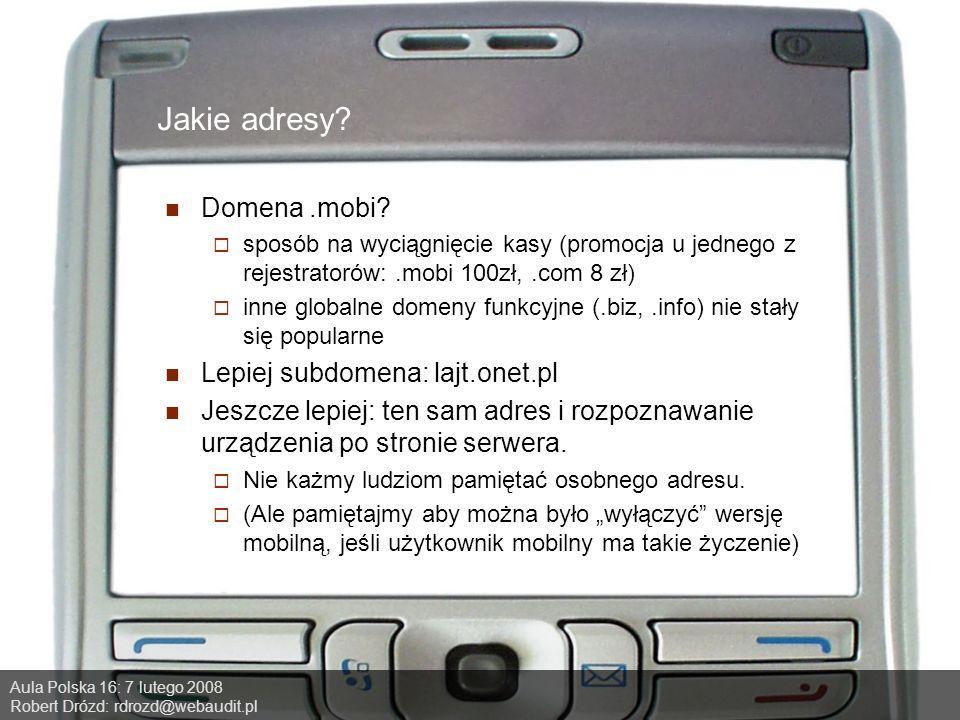 Aula Polska 16: 7 lutego 2008 Robert Drózd: rdrozd@webaudit.pl Jakie adresy.