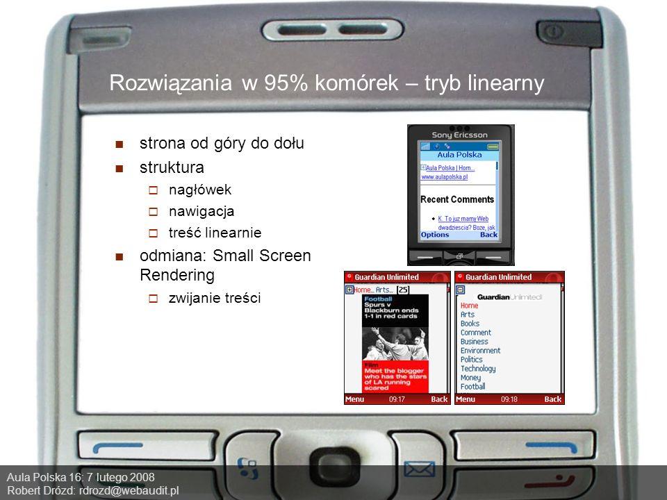 Aula Polska 16: 7 lutego 2008 Robert Drózd: rdrozd@webaudit.pl Rozwiązania w 95% komórek – tryb linearny strona od góry do dołu struktura nagłówek nawigacja treść linearnie odmiana: Small Screen Rendering zwijanie treści