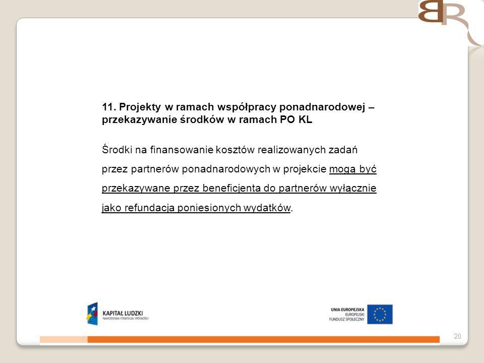4 listopada 201320 11. Projekty w ramach współpracy ponadnarodowej – przekazywanie środków w ramach PO KL Środki na finansowanie kosztów realizowanych