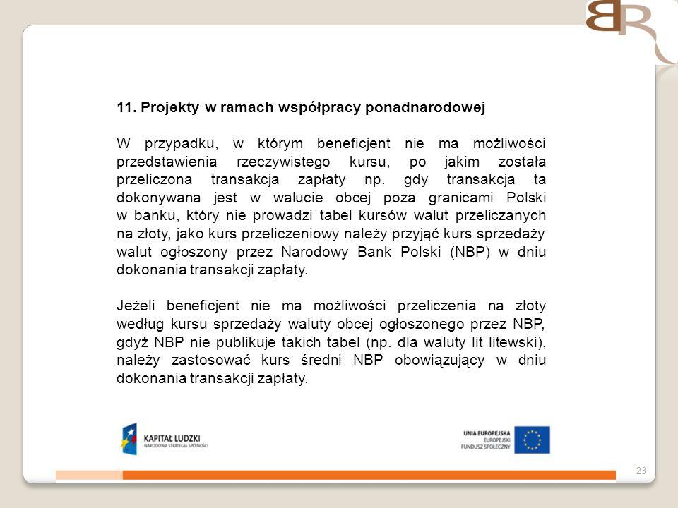 4 listopada 201323 11. Projekty w ramach współpracy ponadnarodowej W przypadku, w którym beneficjent nie ma możliwości przedstawienia rzeczywistego ku