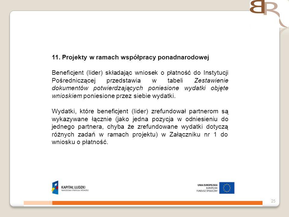 4 listopada 201325 11. Projekty w ramach współpracy ponadnarodowej Beneficjent (lider) składając wniosek o płatność do Instytucji Pośredniczącej przed