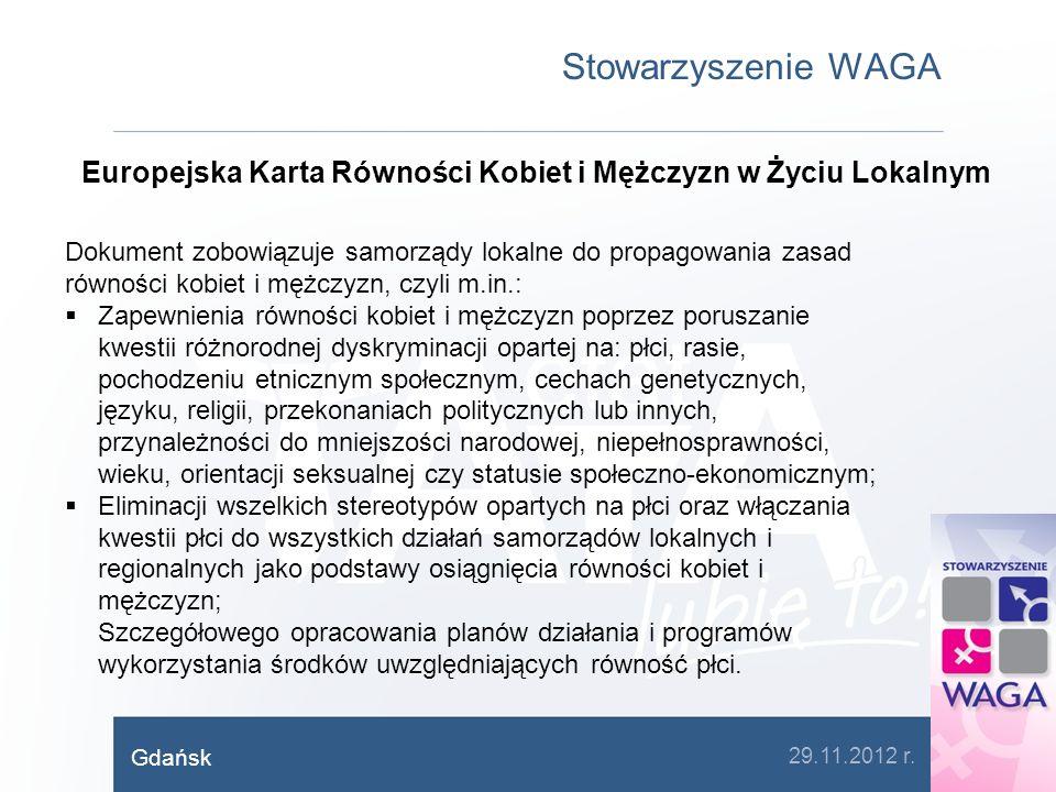 Stowarzyszenie WAGA Europejska Karta Równości Kobiet i Mężczyzn w Życiu Lokalnym Dokument zobowiązuje samorządy lokalne do propagowania zasad równości
