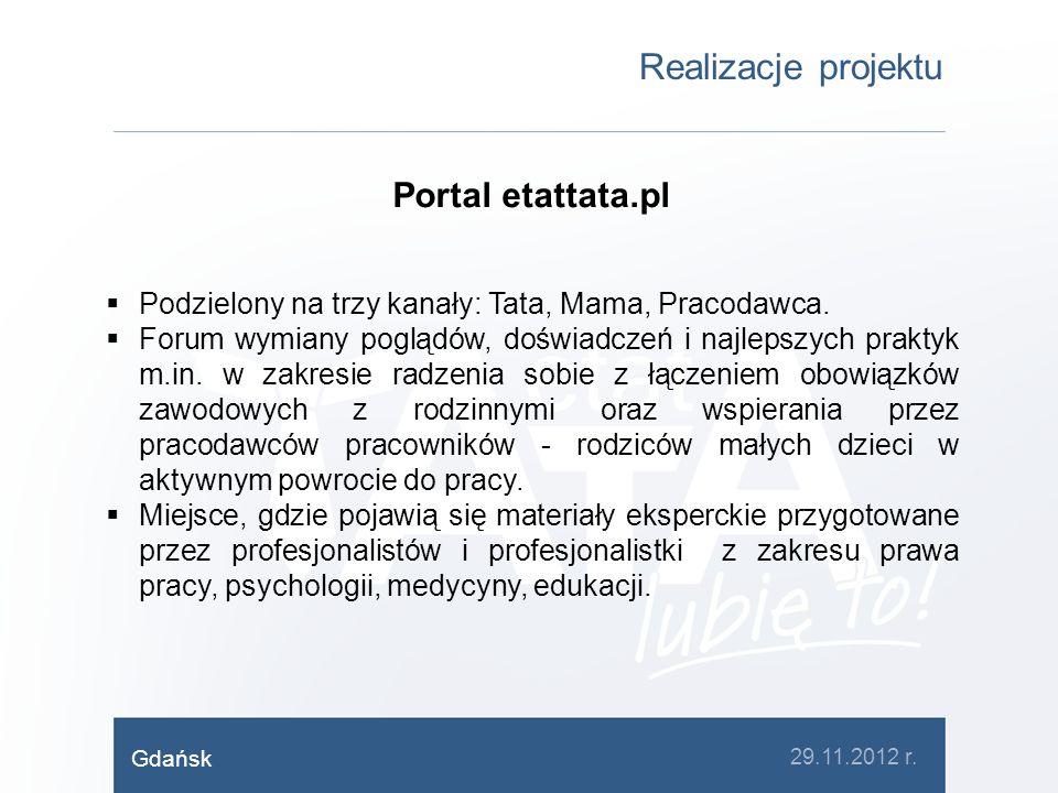 Realizacje projektu Portal etattata.pl Podzielony na trzy kanały: Tata, Mama, Pracodawca. Forum wymiany poglądów, doświadczeń i najlepszych praktyk m.