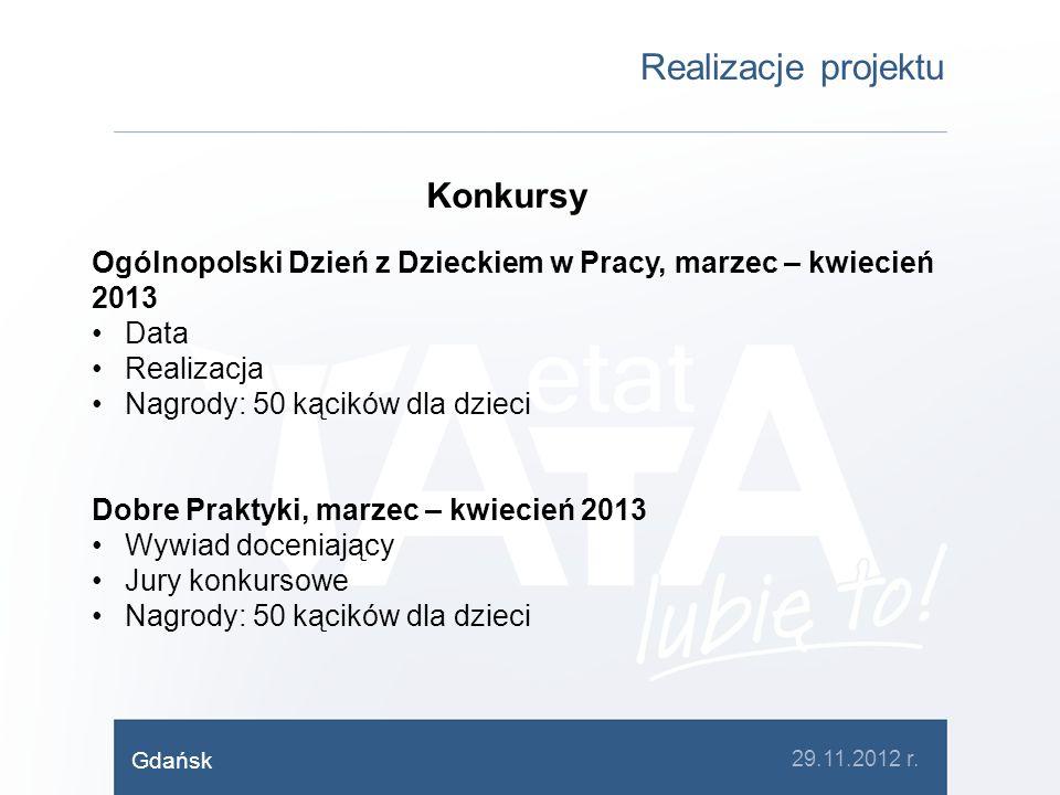 Realizacje projektu Konkursy Ogólnopolski Dzień z Dzieckiem w Pracy, marzec – kwiecień 2013 Data Realizacja Nagrody: 50 kącików dla dzieci Dobre Prakt